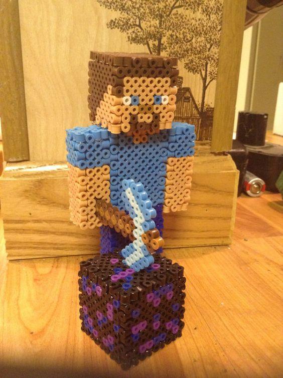 hama bead minecraft 3d