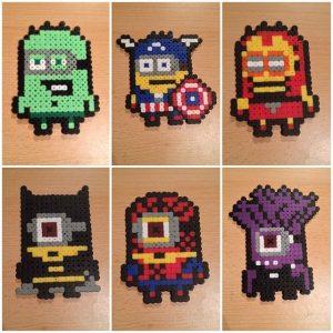 Hama Beads Minions superheroe