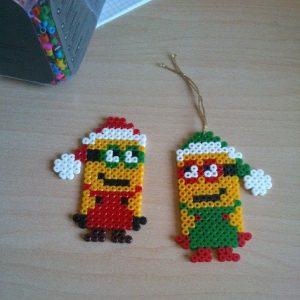 Hama Beads Minions navidad